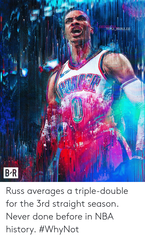 Nba, History, and Never: EXE  TRİPLE-DOUBLE.EXE  B R Russ averages a triple-double for the 3rd straight season. Never done before in NBA history.  #WhyNot