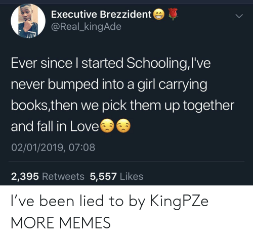 Books, Dank, and Fall: Executive Brezzident  @Real_kingAde  JJI  Ever since l started Schooling,l've  never bumped into a girl carrying  books,then we pick them up together  and fall in Love  02/01/2019, 07:08  2,395 Retweets 5,557 Likes I've been lied to by KingPZe MORE MEMES