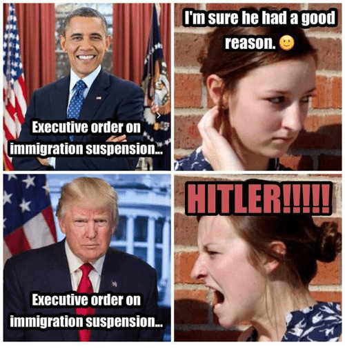 executions: Executive order on  immigration Suspension.  Executive order on  immigration Suspension...  I'm sure he had a good  reason  HITLER!!!!!