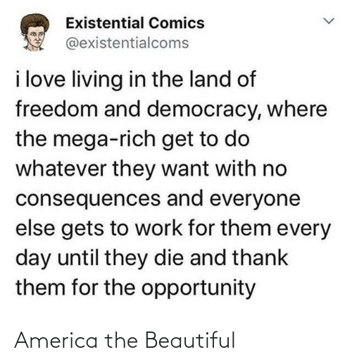 America: Existential Comics  @existentialcoms  i love living in the land of  freedom and democracy, where  the mega-rich get to do  whatever they want with no  consequences and everyone  else gets to work for them every  day until they die and thank  them for the opportunity America the Beautiful
