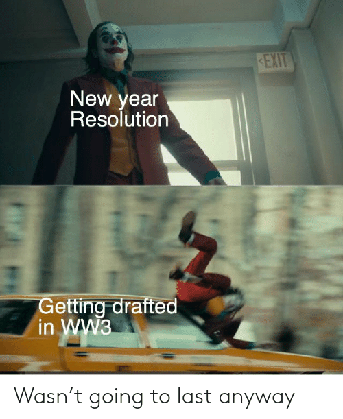 New Year Resolution: EXIT  New year  Resolution  Getting drafted  in WW3 Wasn't going to last anyway