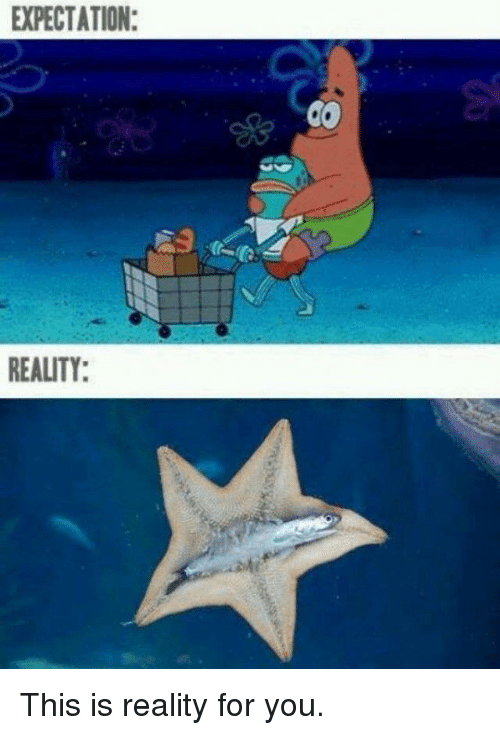 Expectation Reality: EXPECTATION:  REALITY: This is reality for you.