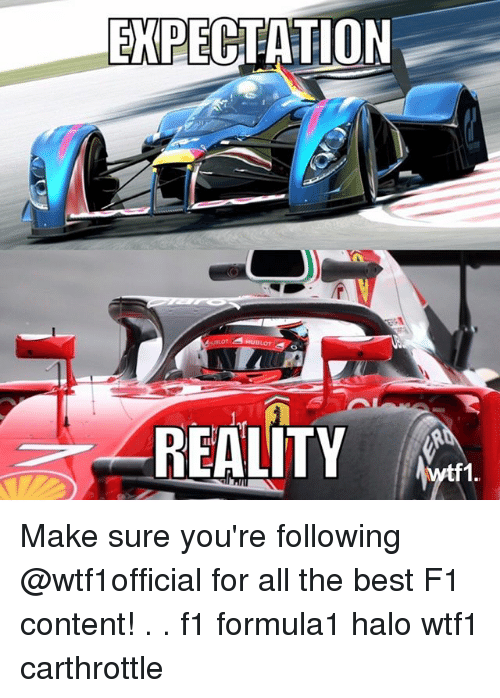 halos: EXPECTATION  ULOT  REALITY  tf1. Make sure you're following @wtf1official for all the best F1 content! . . f1 formula1 halo wtf1 carthrottle