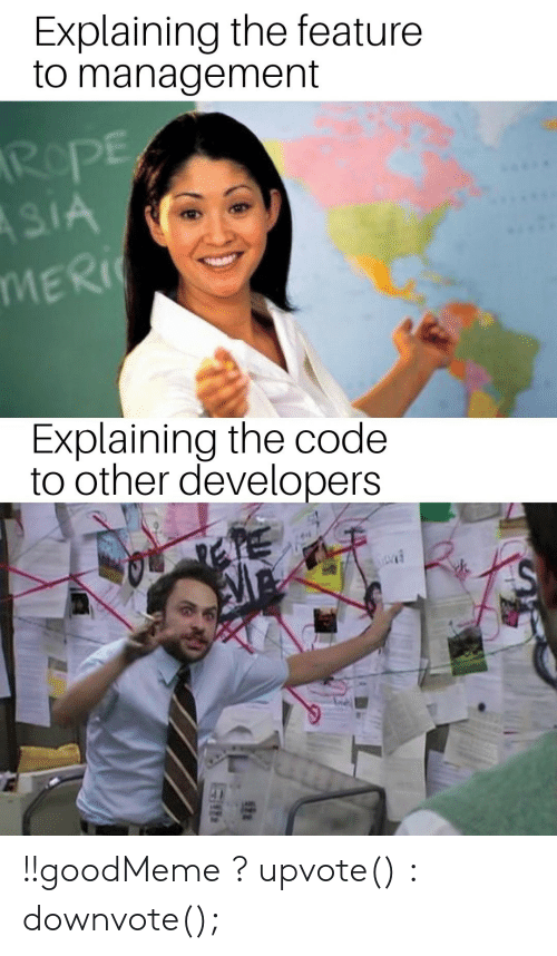 Asia, Code, and The Code: Explaining the feature  to management  RePE  ASIA  MERI  Explaining the code  to other developers !!goodMeme ? upvote() : downvote();