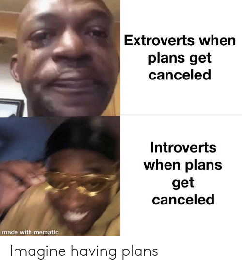 Imagine, Made, and Get: Extroverts when  plans get  canceled  Introverts  when plans  get  canceled  made with mematic Imagine having plans