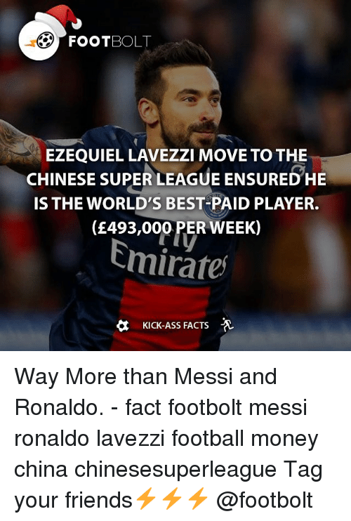 Kicking Ass: EZEQUIEL LAVEZZI MOVE TO THE  CHINESE SUPER LEAGUE ENSURED HE  IS THE WORLD'S BEST PAID PLAYER.  (£493,000 PER WEEK)  Emirates  KICK-ASS FACTS Way More than Messi and Ronaldo. - fact footbolt messi ronaldo lavezzi football money china chinesesuperleague Tag your friends⚡️⚡️⚡️ @footbolt