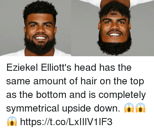Symmetrical: Eziekel Elliott's head has the same amount of hair on the top as the bottom and is completely symmetrical upside down. 😱😱😱 https://t.co/LxIIlV1lF3
