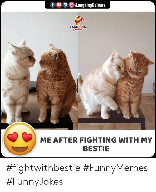bestie: f /LaughingColours  LAUGHING  Celeurs  ME AFTER FIGHTING WITH MY  BESTIE #fightwithbestie #FunnyMemes #FunnyJokes