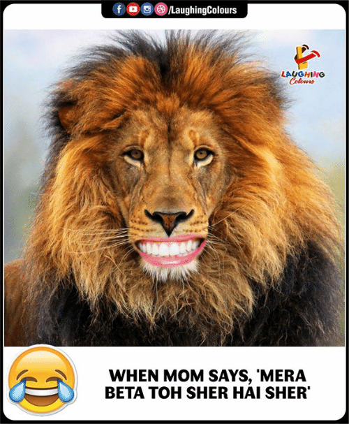 Colours: f LaughingColours  LAUGHING  Colours  WHEN MOM SAYS, 'MERA  BETA TOH SHER HAI SHER