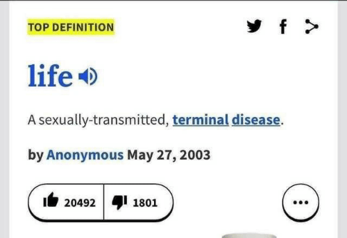 Life, Anonymous, and Definition: f  TOP DEFINITION  life  A sexually-transmitted, terminal disease.  by Anonymous May 27, 2003  20492  1801