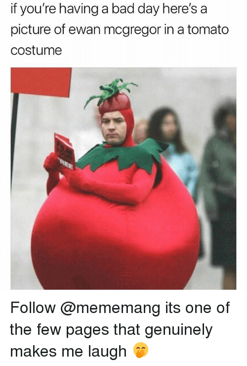 Ewan McGregor: f  you're  having  a  bad  day  here's  a  picture of ewan mcgregor in a tomato  costumee Follow @mememang its one of the few pages that genuinely makes me laugh 🤭