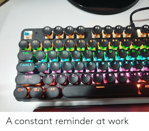 at-work: F9  F7  F5  F6  F8  F4  F2  F3  8 * 9 ( 0 )  3 #  Tab  CapsLk  Shift  Alt  Alt  Ctrl A constant reminder at work
