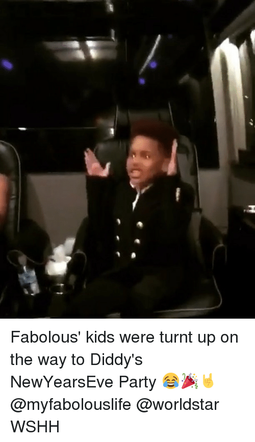 Newyearseve: Fabolous' kids were turnt up on the way to Diddy's NewYearsEve Party 😂🎉🤘 @myfabolouslife @worldstar WSHH