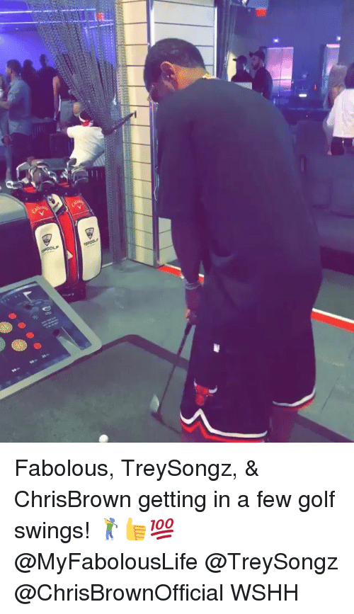 Fabolous, Memes, and Wshh: Fabolous, TreySongz, & ChrisBrown getting in a few golf swings! 🏌️👍💯 @MyFabolousLife @TreySongz @ChrisBrownOfficial WSHH