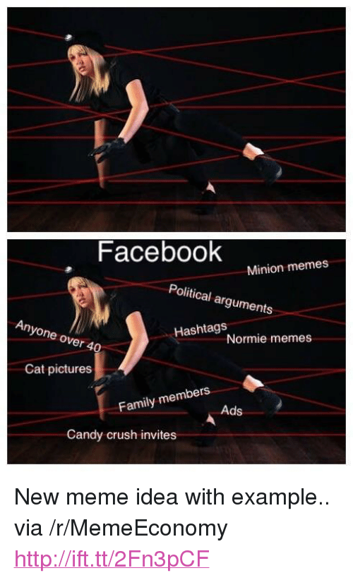 """Candy Crush: Facebook  Minion memes  Political arguments  Anyone over 4  Hashtags  Normie memes  Cat pictures  bers  Family mem  Ads  Candy crush invites <p>New meme idea with example.. via /r/MemeEconomy <a href=""""http://ift.tt/2Fn3pCF"""">http://ift.tt/2Fn3pCF</a></p>"""