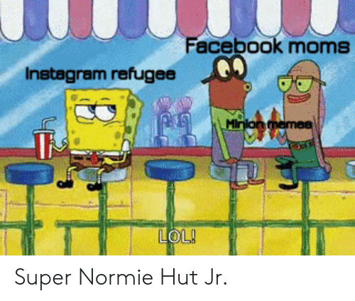 Facebook, Instagram, and Lol: Facebook moms  Instagram refugee  Minion memea  LOL! Super Normie Hut Jr.