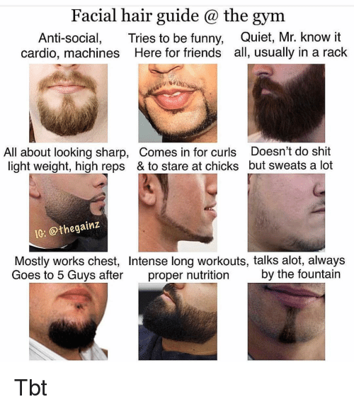Anti Social: Facial hair guide @ the gym  Anti-social, Tries to be funny, Quiet, Mr. know it  cardio, machines Here for friends all, usually in a rack  All about looking sharp, Comes in for curls Doesn't do shit  light weight, high reps & to stare at chicks but sweats a lot  IC: @thegainz  Mostly works chest, Intense long workouts, talks alot, always  Goes to 5 Guys after proper nutrition by the fountain Tbt