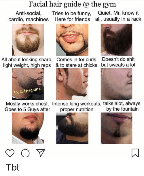 Anti Social: Facial hair guide @ the gym  Anti-social, Tries to be funny, Quiet, Mr. know it  cardio, machines Here for friends all, usually in a rack  All about looking sharp, Comes in for curls Doesn't do shit  light weight, high reps & to stare at chicks but sweats a lot  IG: @thegainz  Mostly works chest, Intense long workouts, talks alot, always  Goes to 5 Guys after proper nutrition by the fountain Tbt