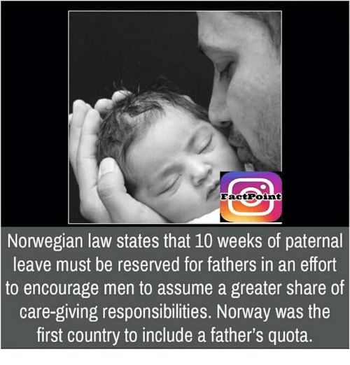 Paternity: Fact Point  Norwegian law states that 10 weeks of paternal  leave must be reserved for fathers in an effort  to encourage men to assume a greater share of  care-giving responsibilities. Norway was the  first country to include a father's quota.