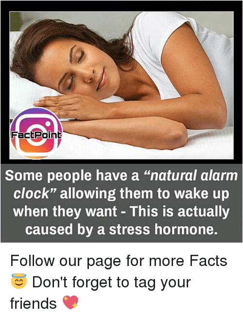 """naturalism: Fact Point  Some people have a """"natural alarm  Clock"""" allowing them to wake up  when they want This is actually  caused by a stress hormone. Follow our page for more Facts 😇 Don't forget to tag your friends 💖"""