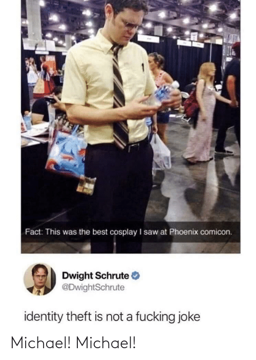 identity: Fact: This was the best cosplay I saw at Phoenix comicon.  Dwight Schrute  @DwightSchrute  identity theft is not a fucking joke Michael! Michael!
