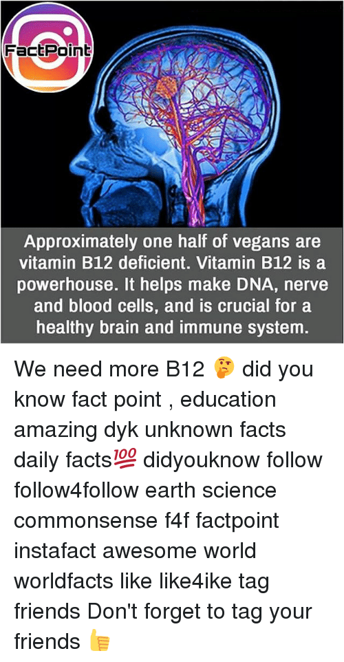 b12: FactPoinb  Approximately one half of vegans are  vitamin B12 deficient. Vitamin B12 is a  powerhouse. It helps make DNA, nerve  and blood cells, and is crucial for a  healthy brain and immune system. We need more B12 🤔 did you know fact point , education amazing dyk unknown facts daily facts💯 didyouknow follow follow4follow earth science commonsense f4f factpoint instafact awesome world worldfacts like like4ike tag friends Don't forget to tag your friends 👍