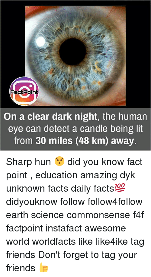 Detectives: FactPoint  On a clear dark night, the human  eye can detect a candle being lit  from 30 miles (48 km) away. Sharp hun 😯 did you know fact point , education amazing dyk unknown facts daily facts💯 didyouknow follow follow4follow earth science commonsense f4f factpoint instafact awesome world worldfacts like like4ike tag friends Don't forget to tag your friends 👍