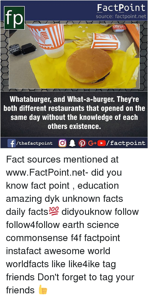 Whataburger: FactPoint  source: factpoint.net  Whataburger, and What-a-burger. They're  both different restaurants that opened on the  same day without the knowledge of each  others existence.  f/thefactpoint  G+/factpoint Fact sources mentioned at www.FactPoint.net- did you know fact point , education amazing dyk unknown facts daily facts💯 didyouknow follow follow4follow earth science commonsense f4f factpoint instafact awesome world worldfacts like like4ike tag friends Don't forget to tag your friends 👍