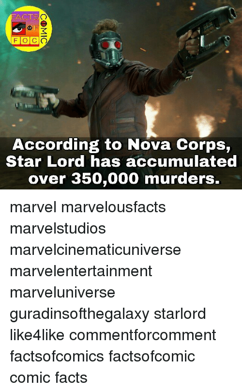 Corpsing: FACTS  TSO  According to Nova Corps,  Star Lord has accumulated  over 350,000 murders. marvel marvelousfacts marvelstudios marvelcinematicuniverse marvelentertainment marveluniverse guradinsofthegalaxy starlord like4like commentforcomment factsofcomics factsofcomic comic facts