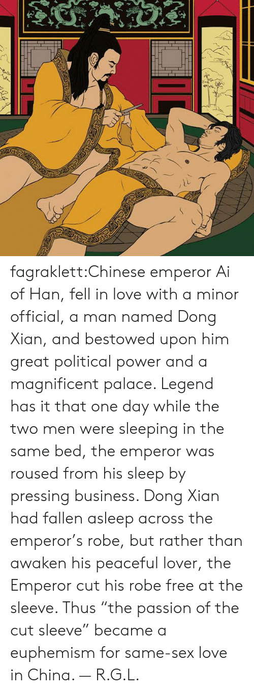 "bestowed: fagraklett:Chinese emperor Ai of Han, fell in love with a minor official, a man named Dong Xian, and bestowed upon him great political power and a magnificent palace. Legend has it that one day while the two men were sleeping in the same bed, the emperor was roused from his sleep by pressing business. Dong Xian had fallen asleep across the emperor's robe, but rather than awaken his peaceful lover, the Emperor cut his robe free at the sleeve. Thus ""the passion of the cut sleeve"" became a euphemism for same-sex love in China. — R.G.L."