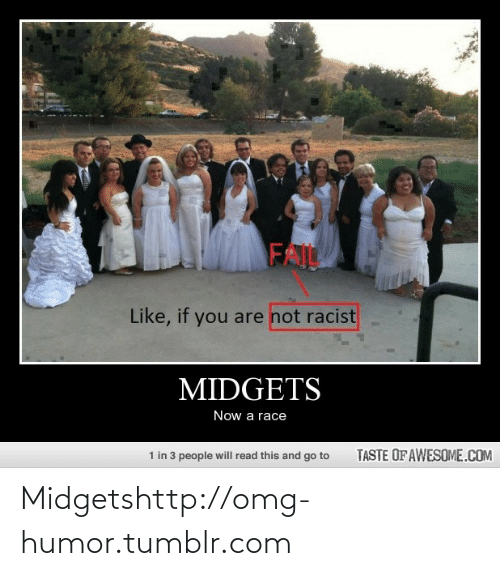 midgets: FAIL  Like, if you are not racist  MIDGETS  Now a race  TASTE OF AWESOME.COM  1 in 3 people will read this and go to Midgetshttp://omg-humor.tumblr.com