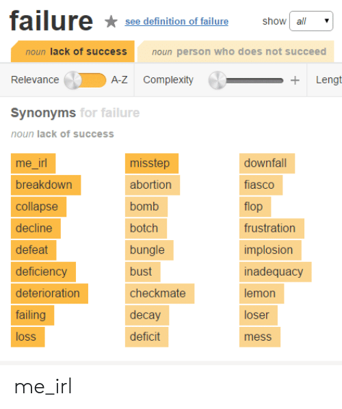 Succeeding: failure  see definition of fallure show a  show a  noun lack of success  noun person who does not succeed  Relevance  A-Z Complexity  Synonyms  for failure  noun lack of success  me irl  breakdown  collapse  decline  defeat  deficiency  deterioration  failing  loss  misstep  abortion  bomb  botch  bungle  bust  checkmate  decay  deficit  downfall  fiasco  flop  frustration  implosion  inadequacy  lemon  loser  mess me_irl