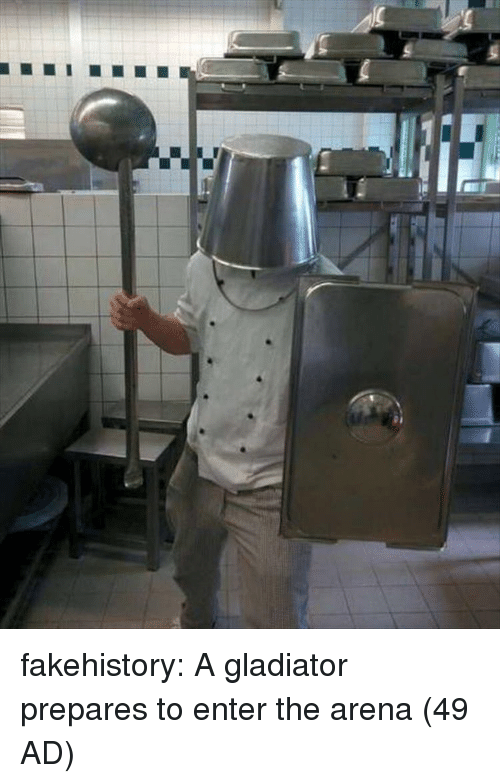 Gladiator: fakehistory:  A gladiator prepares to enter the arena (49 AD)