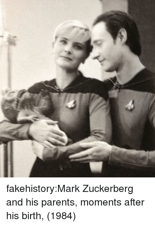 Mark Zuckerberg, Parents, and Tumblr: fakehistory:Mark Zuckerberg and his parents, moments after his birth, (1984)