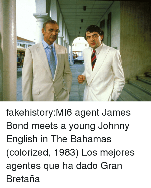 James Bond: fakehistory:MI6 agent James Bond meets a young Johnny English in The Bahamas (colorized, 1983) Los mejores agentes que ha dado Gran Bretaña