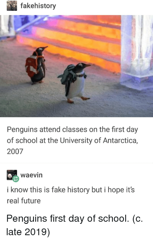 first day of school: fakehistory  Penguins attend classes on the first day  of school at the University of Antarctica,  2007  waevin  i know this is fake history but i hope it's  real future Penguins first day of school. (c. late 2019)