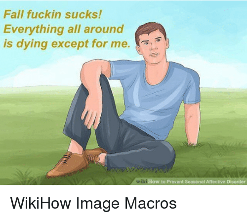 Nihilist: Fall fuckin sucks!  Everything all around  is dying except for me.  wiki  How to Prevent Seasonal Affective Disorder WikiHow Image Macros