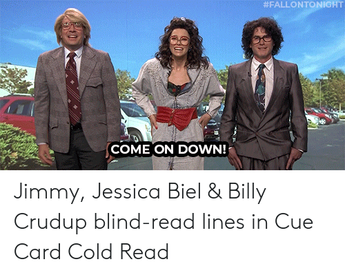 Target, Jessica Biel, and Youtu:  #FALLONTONIGHT  COME ON DOWN! Jimmy, Jessica Biel & Billy Crudup blind-read lines in Cue Card Cold Read