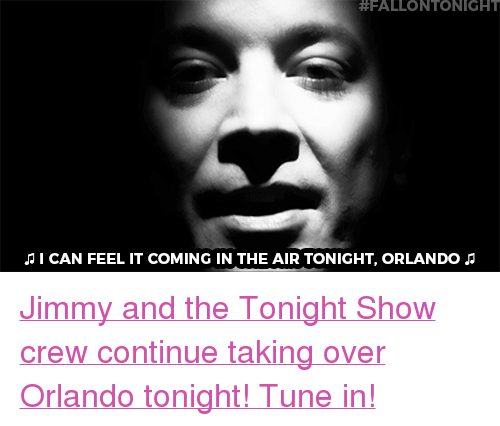 """Target, youtube.com, and Orlando:  #FALLONTONIGHT  I CAN FEEL IT COMING IN THE AIR TONIGHT, ORLANDO <p><a href=""""https://www.youtube.com/watch?v=ac1b8Rb9MME"""" target=""""_blank"""">Jimmy and the Tonight Show crew continue taking over Orlando tonight! Tune in!</a></p>"""