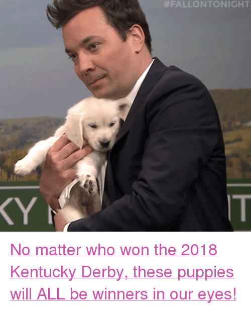 "derby: FALLONTONIGHT  IT <p><a href=""https://www.youtube.com/watch?v=wkxWlY6tlK4"" target=""_blank"">No matter who won the 2018 Kentucky Derby, these puppies will ALL be winners in our eyes!</a></p>"