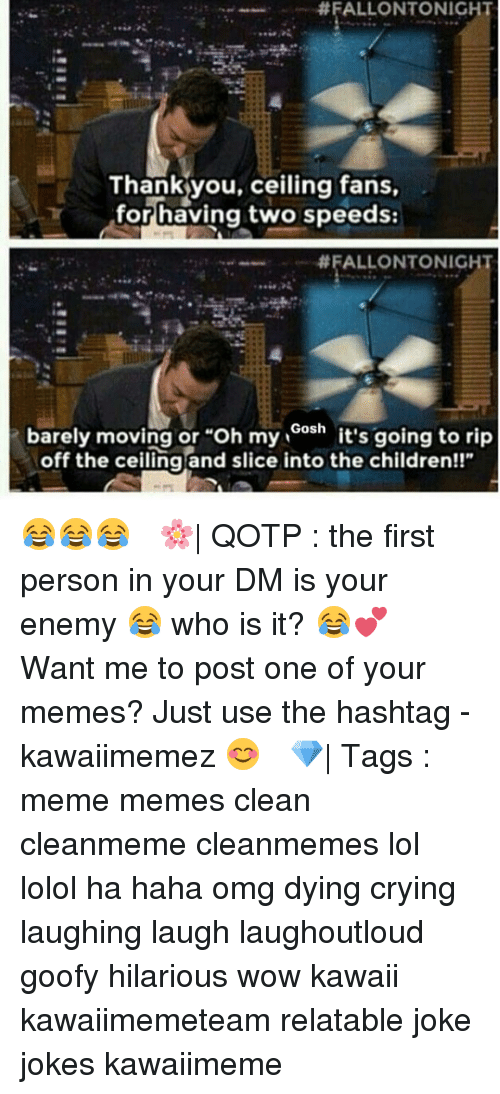 """Memes Clean: FALLONTONIGHT  Thank you, ceiling fans,  for having two speeds:  FALLONTONIGHT  barely moving or """"oh my Gosh it's going to rip  off the ceiling and slice into the children!!"""" 😂😂😂 ✿ 🌸