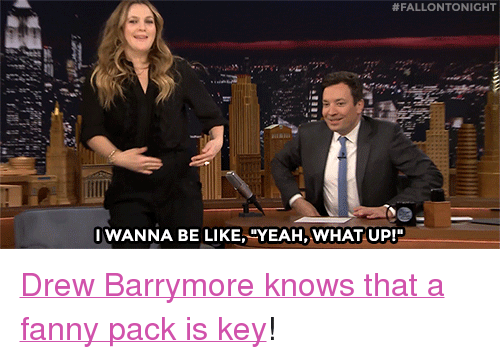 """Drew Barrymore:  #FALLONTONIGHT  WANNA BE LIKE, """"YEAH, WHAT UP! <p><a href=""""https://www.youtube.com/watch?v=NcNRuTjxuBo&amp;index=2&amp;list=UU8-Th83bH_thdKZDJCrn88g"""" target=""""_blank"""">Drew Barrymore knows that a fanny pack is key</a>!<br/></p>"""