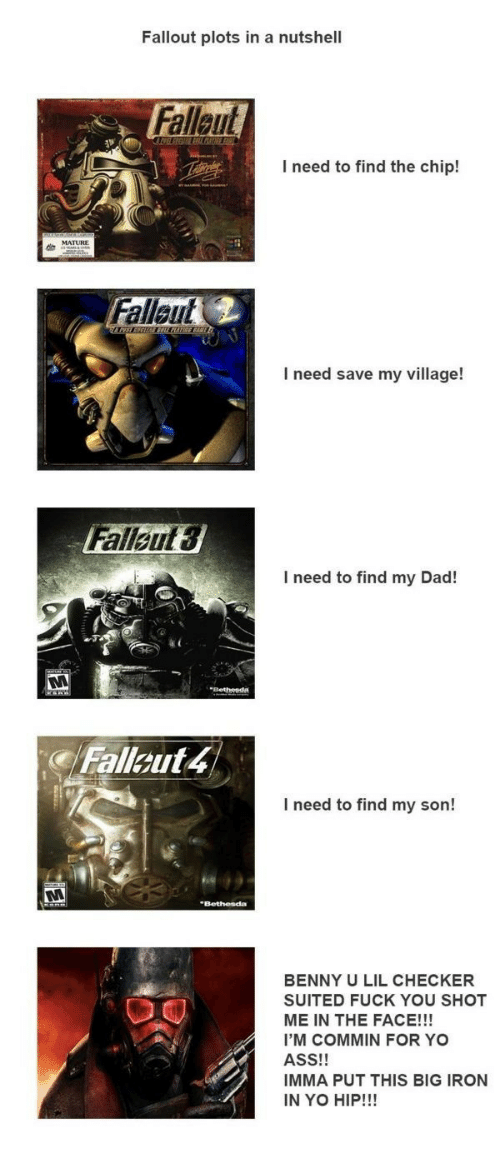 checker: Fallout plots in a nutshell  Fallaut  I need to find the chip!  Fallaut  I need save my village!  Falleut  3  I need to find my Dad!  Fallout 4  I need to find my son!  BENNY U LIL CHECKER  SUITED FUCK YOU SHOT  ME IN THE FACE!!!  I'M COMMIN FOR YO  ASS!!  IMMA PUT THIS BIG IRON  IN YO HIP!!!