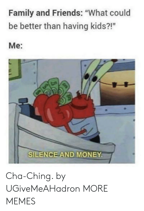 "cha: Family and Friends: ""What could  be better than having kids?!""  Me:  SILENCE AND MONEY Cha-Ching. by UGiveMeAHadron MORE MEMES"