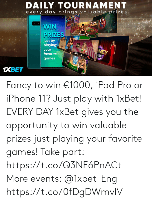 ipad: Fancy to win €1000, iPad Pro or iPhone 11? Just play with 1xBet! EVERY DAY 1xBet gives you the opportunity to win valuable prizes just playing your favorite games!  Take part: https://t.co/Q3NE6PnACt More events: @1xbet_Eng https://t.co/0fDgDWmvlV