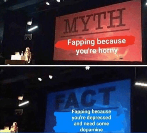 fapping: Fapping because  you're horny  Fapping because  you're depressed  and need some  dopamine