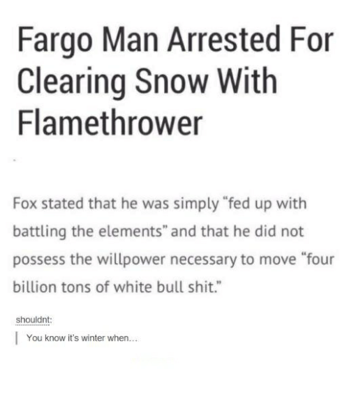 """Foxe: Fargo Man Arrested For  Clearing Snow With  Flamethrower  Fox stated that he was simply """"fed up with  battling the elements"""" and that he did not  possess the willpower necessary to move """"four  billion tons of white bull shit.""""  shouldnt  You know it's winter when..."""