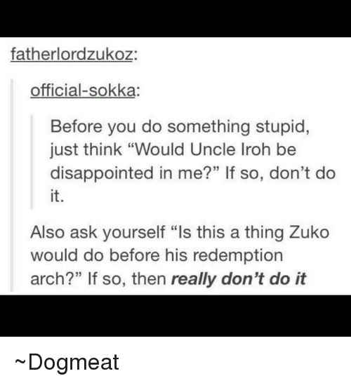 """Memes, 🤖, and Arch: father lordzukoz:  official-sokka:  Before you do something stupid,  just think """"Would Uncle Iroh be  disappointed in me?"""" If so, don't do  Also ask yourself """"ls this a thing Zuko  would do before his redemption  arch?"""" If so, then really don't do it ~Dogmeat"""