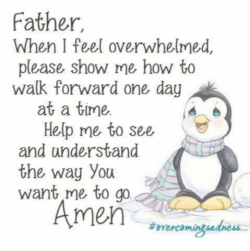 Memes, 🤖, and One Day at a Time: Father,  When I feel overwhelmed,  please show me how to  walk forward one day  at a time,  Help me to see  and understand  the way you  want me to go  Amen  itomercomingsadness...