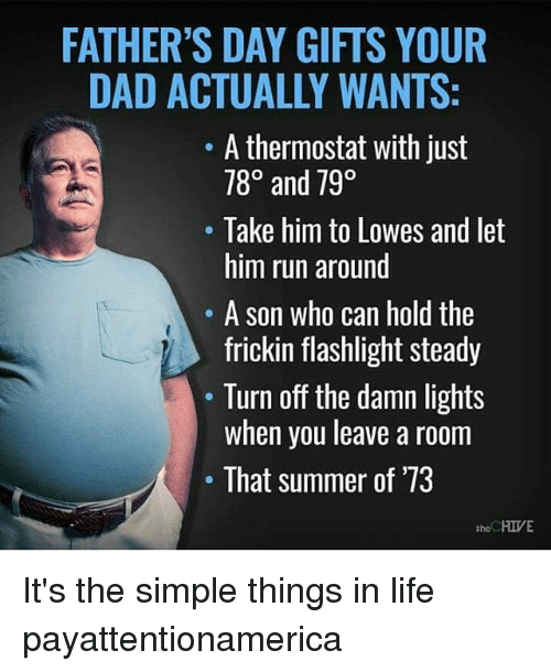 hives: FATHER'S DAY GIFTS YOUR  DAD ACTUALLY WANTS:  A thermostat with just  780 and 790  Take him to Lowes and let  him run around  A son who can hold the  frickin flashlight steady  Turn off the damn lights  when you leave a room  That summer of '73  HIVE  the It's the simple things in life payattentionamerica